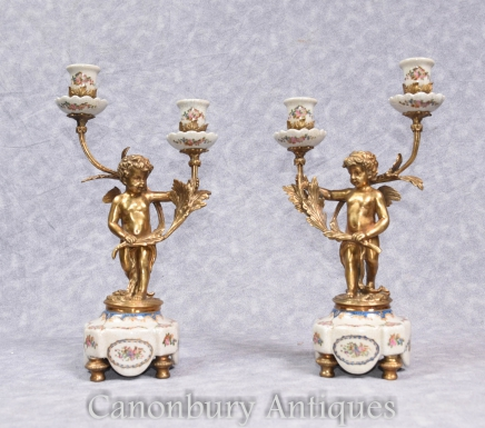 Pair French Cherub Porcelain Candelabras - Empire Ormolu  Candlesticks