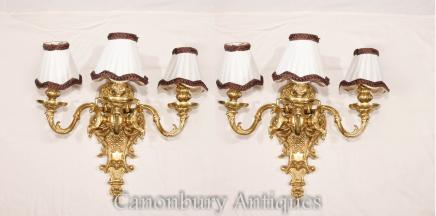 Pair French Empire Ormolu Sconce Wall Lights