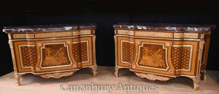 Pair French Empire Commodes - Ornate Commodes Chests of Drawers