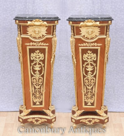 Pair French Empire Pedestal Stand Tables Linke