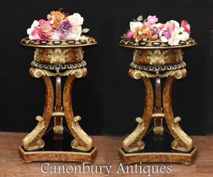 Pair French Empire Torcheres Planter Stands Penshell