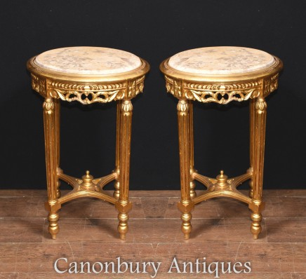 Pair French Gilt Side Tables Cocktail Marble Tops