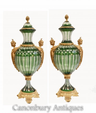 Pair French Green Glass Vases - Empire Ormolu Urns