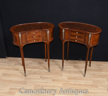 Pair French Louis Philippe Kidney Side Table Nightstands Bedside Chests