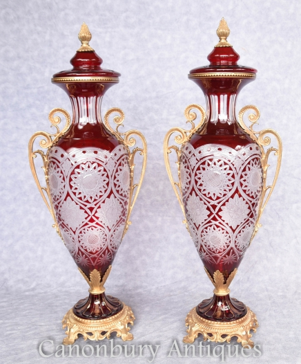 Pair French Louis XV Glass Vases Lidded Urns Empire Glassware
