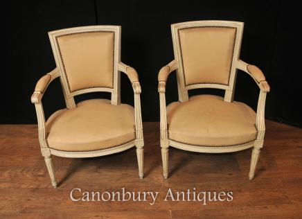 Pair French Neo Classical Arm Chairs Fauteuil Painted Chair