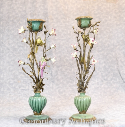 Pair French Nouveau Tropical Bird Candelabras Candle Sticks Ormolu