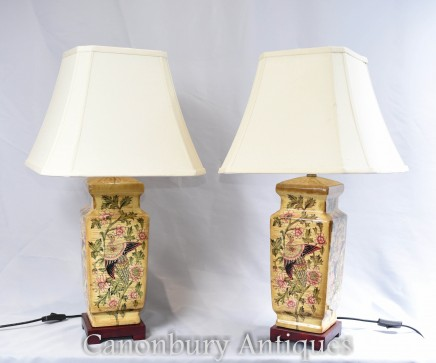 Pair French Porcelain Table Lamps Lights