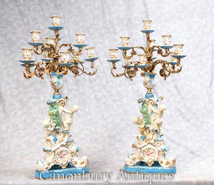 Pair French Sevres Porcelain Cherub Candelabras Candles