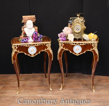 Pair French Side Tables - Porcelain Plaques Marquetry Inlay