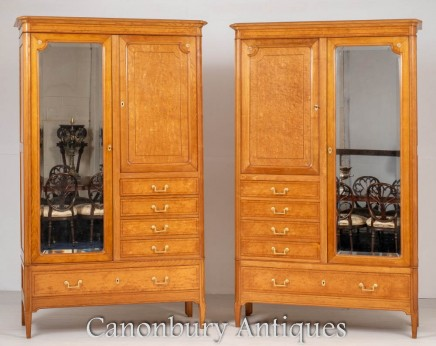 Pair French Wardrobes Antique Closet Armoire Maple 1860