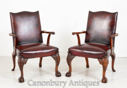 Pair Gainsborough Arm Chairs - Antique Mahogany Chippendale 1880