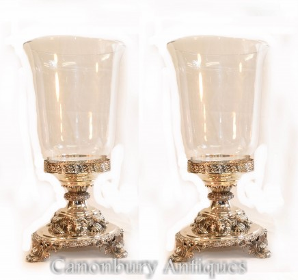 Pair George III Silver Plate Glass Vases Lion Base