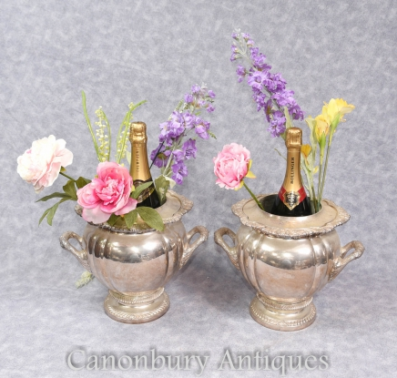 Pair Georgian Silver Plate Champagne Buckets Wine Coolers Urns