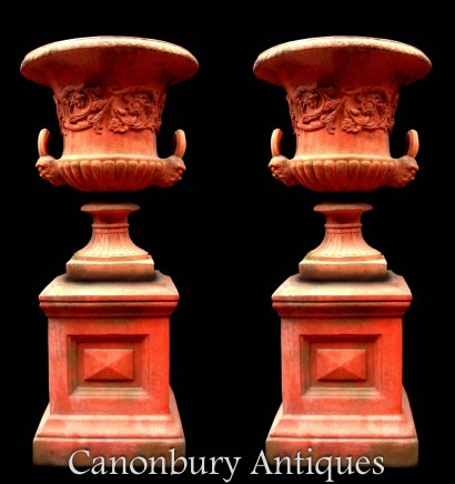 Pair Georgian Terracotta Urns - Garden Vase on Pedestal