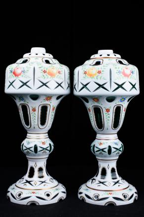 Pair German Porcelain Lamp Bases Table Lights