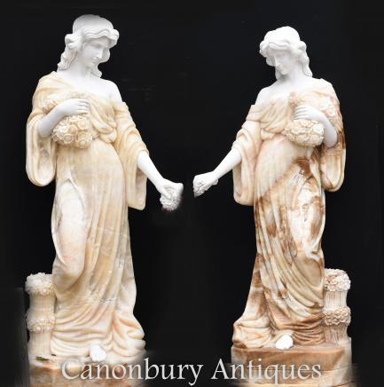 Pair Giant Hand Carved Roman Maiden Statues - Female Figurine