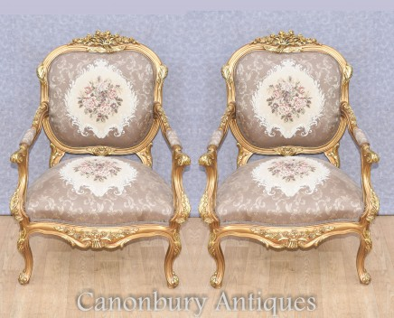Pair Gilt Arm Chairs - Louis XVI Accent Seats