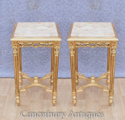 Pair Gilt Side Tables - French Empire Interiors