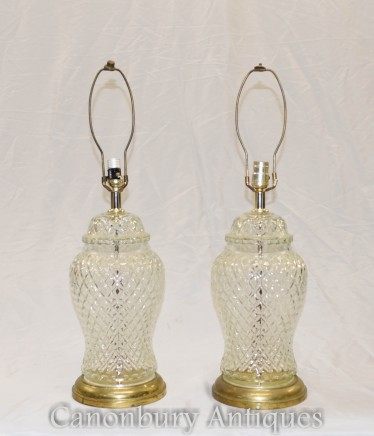 Pair Glass Table Lamps - Waterford Lights