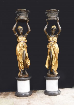 Pair Italian Bronze Female Torchiere Statues XL Planters