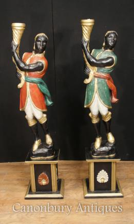 Pair Italian Venetian Blackamoor Figures Painted Circa 1930 Torcheres
