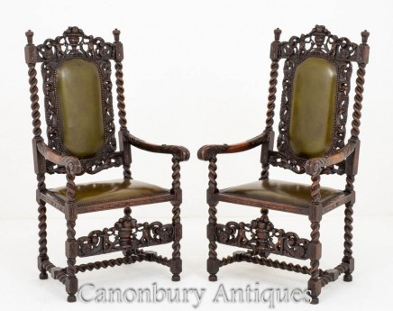 Pair Jacobean Oak Chairs Carver Arm Chairs Farmhouse 1880