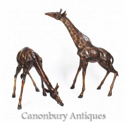 Pair Large Bronze Giraffes - Animal Statues Garden Casting
