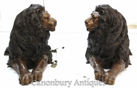 Pair Large Bronze Lions - Recumbant Gatekeeper Cats