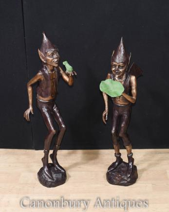 Pair Large Bronze Pixie Garden Statues Elph Celtic Fairey