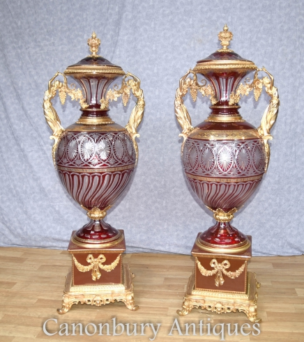 Pair Large Empire Cut Glass Amphora Urns Maiden Ormolu Handles French Vase