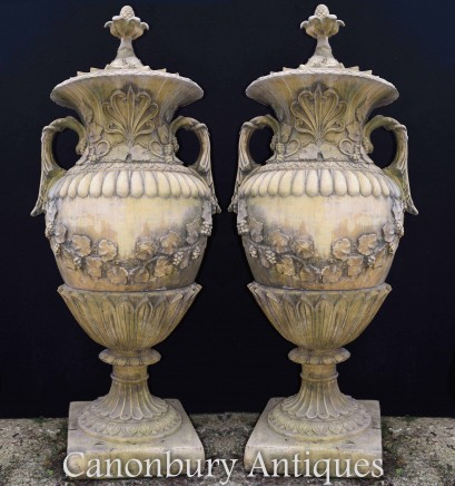 Pair Large English Stone Garden Urns Amphora Vase