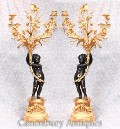 Pair Bronze Candelabras  - Large French Cherub Manner Clodion