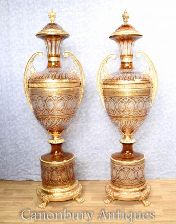 Pair Large French Cut Glass Urns on Pedestal Stands Empire Vases