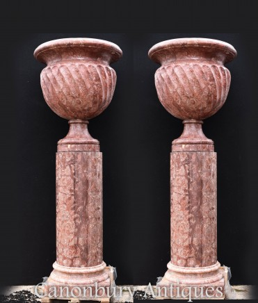 Pair Large Italian Marble Pedestal Urns - Planters on Stands Garden Art