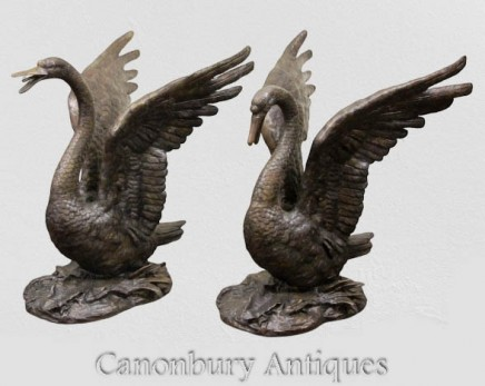 Pair Large Swan Statues - Royal Bird Garden Casting