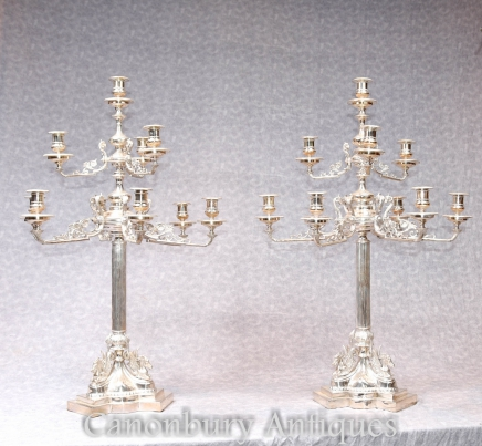 Pair Silver Plate Candelabras - Large Victorian  Column Candles