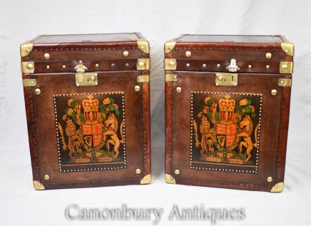 Pair Leather Steamer Trunk Boxes - Luggage Case Side Table