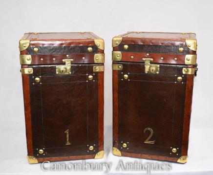 Pair Leather Steamer Trunk Luggage Cases Side Table