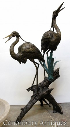 Pair Lifesize Bronze Cranes - Large Bird Casting Garden