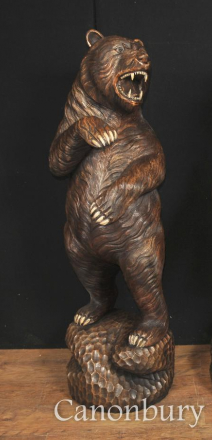 Single Lifesize Carved Black Forest Bear Statue German