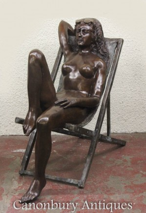 Pair Lifesize Nude Girls - Deck Chair Female Garden Statues