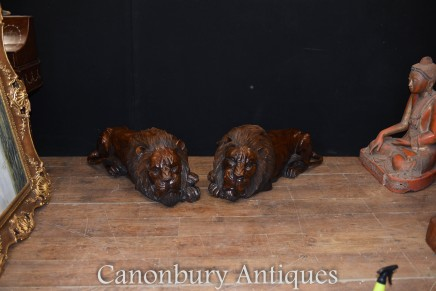 Pair Lion Statues - Lifesize Recumbant Gatekeeper Cats