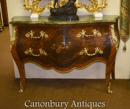 Pair Louis XVI Bombe Commodes French Chest Drawers