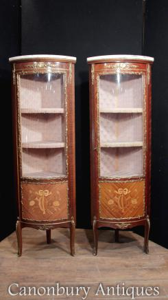 Pair Louis XVI Display Cabinets Bijouterie Marquetry Inlay