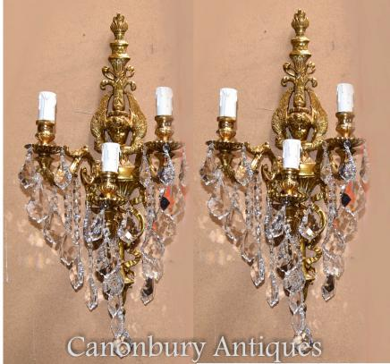 Pair Louis XVI Gilt Wall Sconces Lights Ormolu Appliques