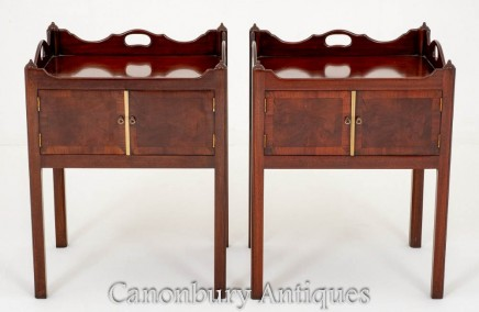 Pair Mahogany Bedside Cabinets Georgian Style Nightstands
