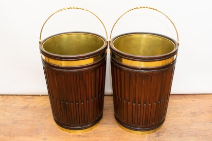 Pair Mahogany Peat Bucket Planters Brass Fittings