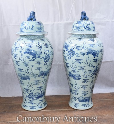 Pair Ming Porcelain Temple Urns Jars - Large Blue and White Vases