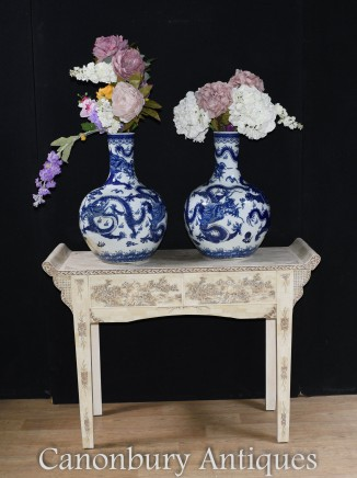 Pair Ming Porcelain Vases -  Chinese Blue and White Urns